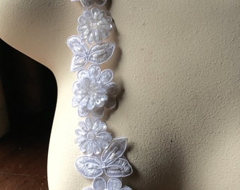 """WHITE Beaded Applique Trim 12""""  for Lyrical Dance, Ballet, Costume or Jewelry Design, Crafts TR 249w"""