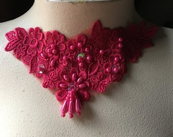 Fuchsia Beaded Lace Applique for Lyrical Dance, Jewelry or Costume Design CA 755f