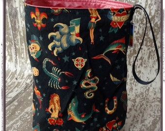 Reusable Trashbag, Vintage Tattoos, waterproof, perfect for travel, child friendly