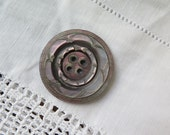 Antique Shell Button Carved Smokey Mother of Pearl Button 34 mm