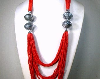 RESERVED Carla, Tribal Red Glass 22 Strand Long Necklace, Big Silver Beads,  Multistrand Seed Beads, Native Influence, LONG Bib, 1980s