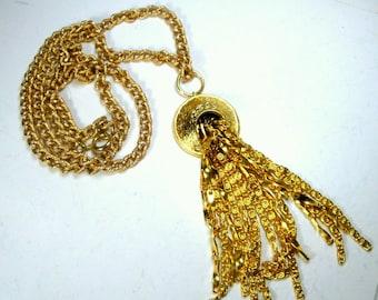 Vintage  Gold Chain Tassel Necklace