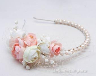 Blush Pink and Ivory Wedding Hair Vintage Pearl Headband Bridal Wedding Tiara with Netting Pearl Wedding Headband, Vintage Bridal Headpiece