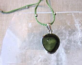 Green Tourmaline Pendant In Steling Silver