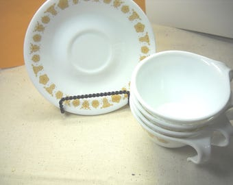 Vintage Butterfly Gold Hook Handled Cups and Saucers-Retired Pattern-4 sets