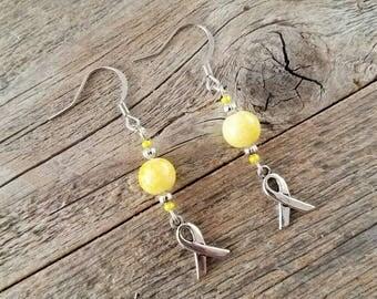 Yellow jewelry, yellow earrings, endometriosis awareness jewelry, ribbon jewelry, yellow ribbon jewelry, handmade earrings, endosister