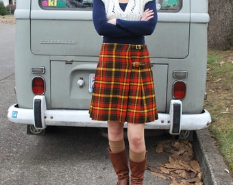 Vintage 60's Plaid Wool Kilt Skirt