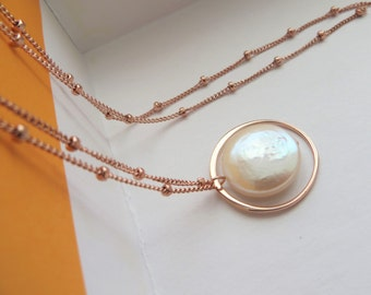 mother of the bride gift, rose gold Eternity necklace, bridesmaid jewelry, pearl, eternal love