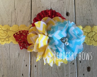 AQUA, YELLOW and RED with Rhinestone and Pearl Flower Trio Headband