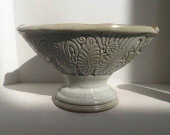 handmade PEDESTAL BOWL, Pottery bowl, art pottery