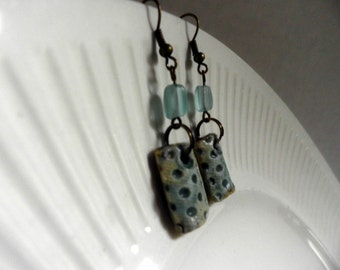 handmade Porcelain Earrings with frosted glass bead