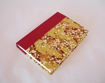 Blank book journal unlined -6x8.5in 15x22cm - crimson with tranquil landscape chiyogami- Ready to ship