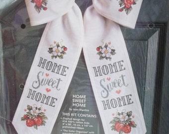 "Bow Tie Counted Cross Stitch Kit, ""Home Sweet Home"", Cottage Chic Door Decor, Strawberries Wall Decor Needlework Kit JCA, Inc. Craft Destash"