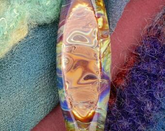 "SRA Lampwork Beads ""Sedimentary"" Handmade Faceted Glass Window Oval Focal Bead"