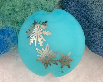 "Lampwork Beads SRA ""Turquoise Snowflake Lentil"" Handmade Sandblasted Glass and Metallic Lustre on Pale Aqua/Blue"