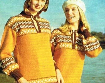 Downloadable Vintage knitting Pattern - Tunic with or with our hood from 1980 - PDF Pattern - retro 80's Sweater
