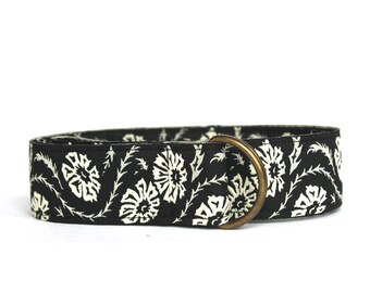 Black Flowered Jacquard Ribbon Belt
