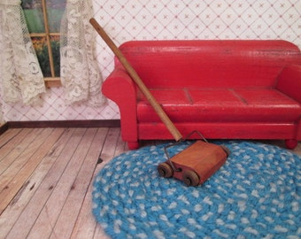 "Vintage Miniature Dollhouse Accessory - Wooden Carpet Sweeper Vacuum - 1"" Scale"