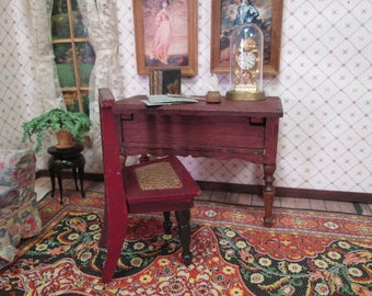 """Antique German Doll House Furniture - Red Stain Desk and Schneegas Red Lacquer Chair - 1"""" Scale"""