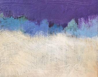 """Jack's Snow Field- Original Acrylic Oil Encaustic Landscape Painting- 8""""x 8"""""""