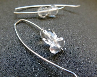 clear quartz earrings. asymetrical jewelry. made in Canada