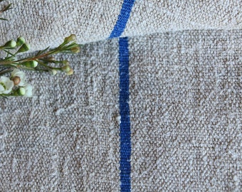 B 975: antique BRIGHT BLUE grain sack 리넨 lin, upholstery fabric 55.91 long french lin wedding tablerunner grainsack