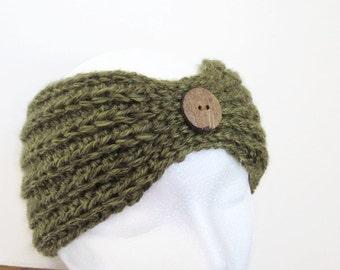 Ladies' Olive Ear Warmer - Crochet Olive Ear Warmer - Women's Green Ear Warmer - Crocheted Ear Warmer - Crochet Olive Headband