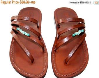 15% Off Brown Decor Rainbow Leather Sandals For Men & Women - Handmade Unisex Sandals, Flip Flop Sandals, Jesus Sandals, Genuine Leather San