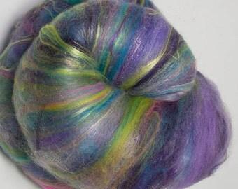Hand Carded Batt, 100g, Merino, Polwarth, Tussah silk, Romney, Hand dyed Tencel, Hand dyed faux cashmere , Spinning wool,  Primavera