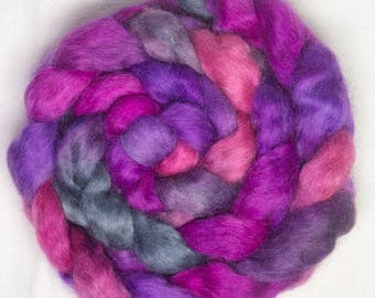 Hand painted Teeswater, hand painted tops, spinning fibre, hand dyed  roving, felting fibre, fiber, Teeswater, 93g, Desire