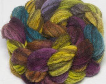 Hand dyed roving, BFL, Blue faced Leicester Humbug, spinning wool, , combed top, fibre, fiber, braid, felt, spin, Heather