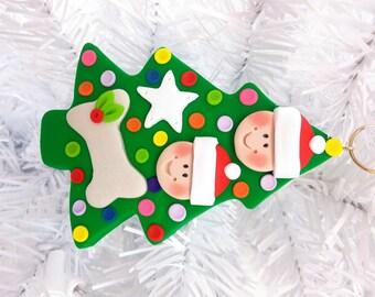 Polymer Clay Dog Christmas Ornament  Couple with Dog Ornament  Dog Lovers Gift  Pet Ornament Dog Owners Gift - 1239