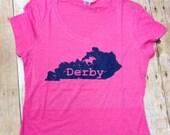 Pink Kentucky Derby V-neck t-shirt, tri blend tee, Kentucky state shirt