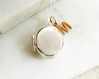 Silver Oval Locket with Rose Gold Letter Charm