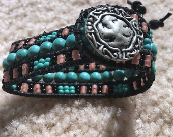 Leather, Beaded, Cuff Bracelet, with Chalk Turquoise, Gemstones,  - Free Shipping