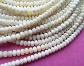 White bone beads, 15 bone rondelle beads 10mm, eco friendly and natural bone beads (PN304C)