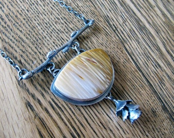 RESERVED.  Necklace of Petrified Palm Wood, Pussywillow Twig, and Sedum, in Sterling Silver
