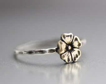 Sweet Boho Flower Ring, Rustic Ring, Stack Ring, Fall Flower Ring, Sterling Silver,Stack Band,Hammered Band, Boho,Hipster Ring,Silver Ring
