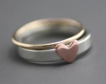Heart Stack Ring, Heart Ring, Stack Rings, Gold Stack Ring, Sterling Stack Rings, Anniversary Ring, Wedding Ring, Silver Ring, Pink Heart