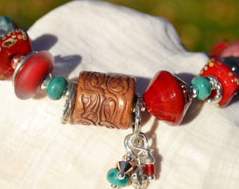 FIELD of DREAMS-Handmade Lampwork, Copper and Sterling Silver Bracelet