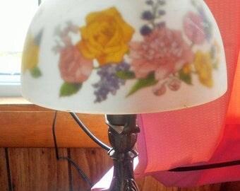 SALE Vintage Romantic Flower electric Lamp, Shanghai Union Arts & Craft Co
