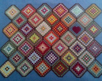 My Granny's Afghan, Granny Square Inspired Cross Stitch, PDF Download, Carolyn Manning Designs