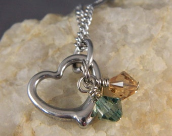 Small Stainless Steel Heart with Birthstone Crystals