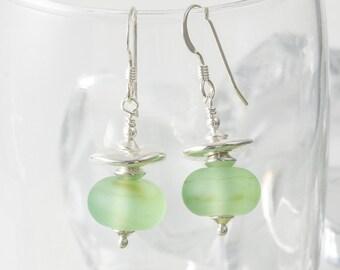 Stone Tumbled Lampwork Earrings