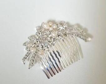 Wedding Hair comb, Rhinestone Pearl Hair Comb, Bridal Hair Accessory