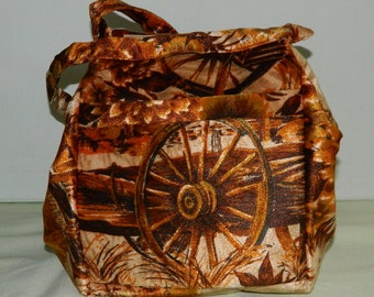 Vintage Western South Western Wagon Wheel Novelty Print Convertible Duffel Bag Purse New Old Stock Never Used Travel Bag