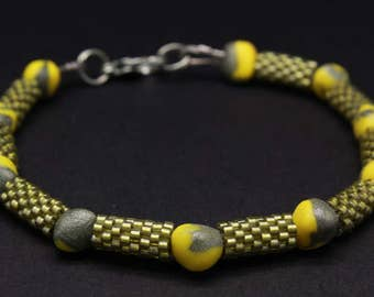 Silver And Yellow Polymer Clay and Miyuki Seed Beaded Bracelet