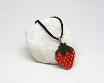 Ceramic Pendant Necklace: Sweet Strawberry Handmade Stoneware Charm with black suede cord