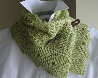 Lace Scarf Shawl - Easy Knitting Pattern - Front Porch Fern Leaf Lace - rectangle scarf cowl shawl wrap -  pattern using sock fingering yarn