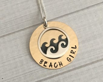Beach Girl Necklace - The Beach Is Calling - The Ocean Is Calling - Beach Jewelry - Beach Gift - Bridesmaid Gift